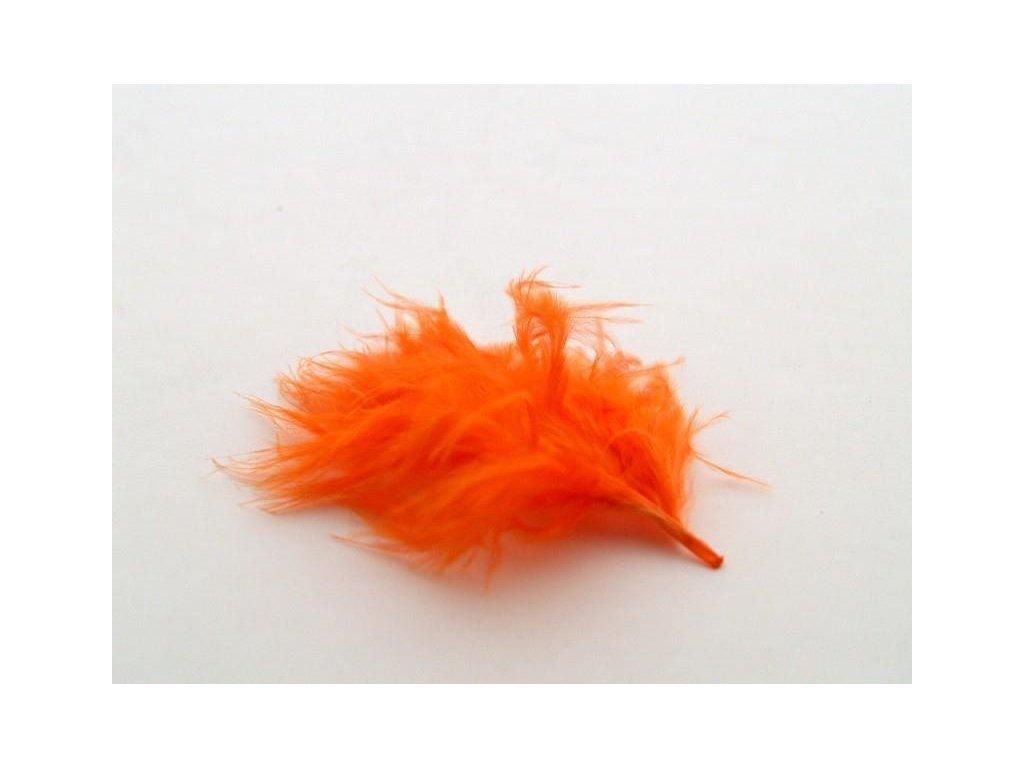 10 x peří Marabu oranžové, malé