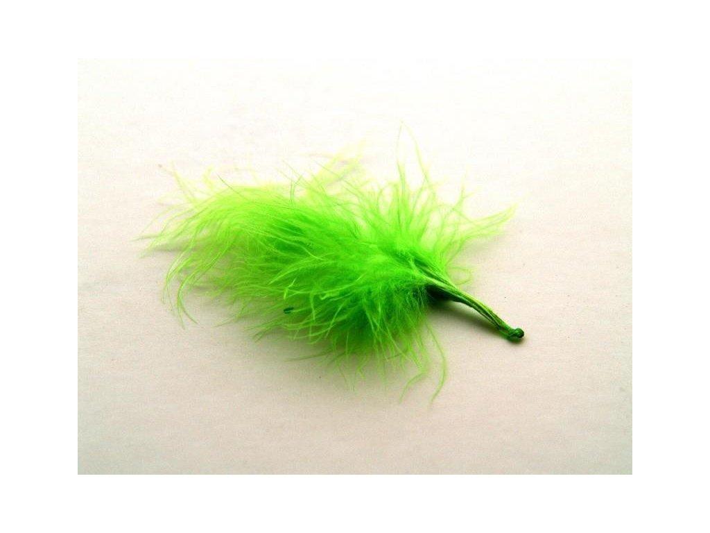 10 x peří Marabu světle zelené, malé