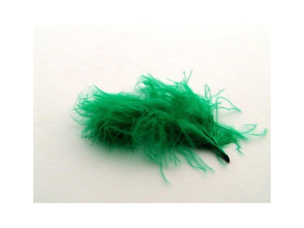10 x peří Marabu tmavě zelené, malé