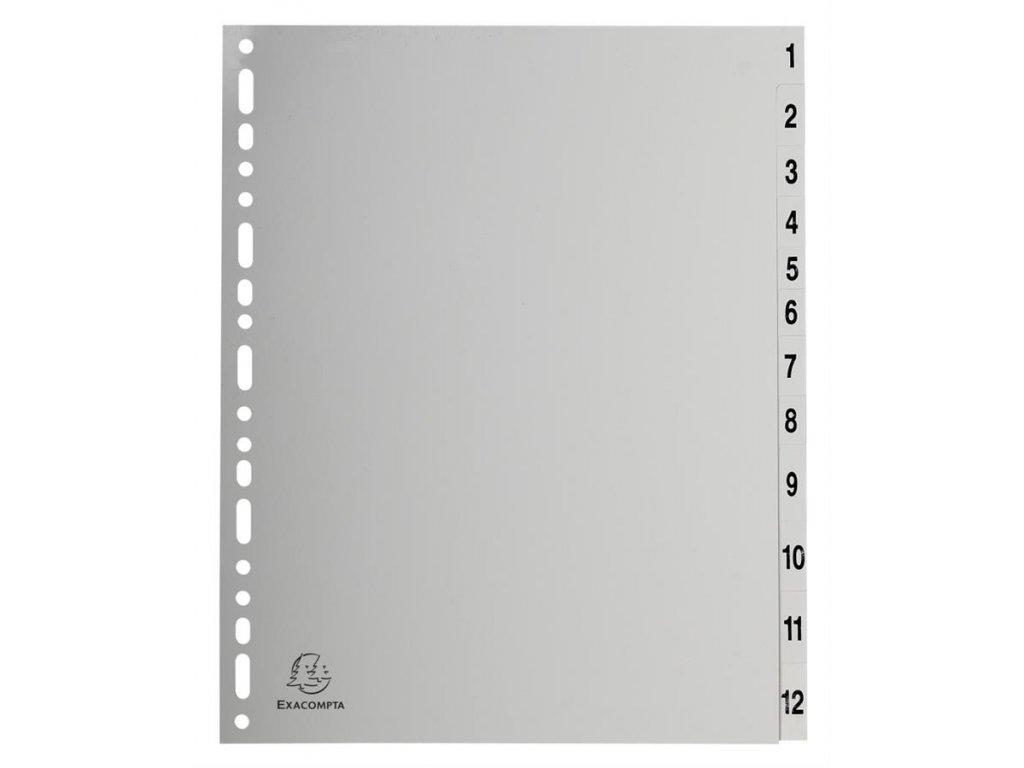 Exacompta, rozdružovač číselný 1-12, A4 maxi