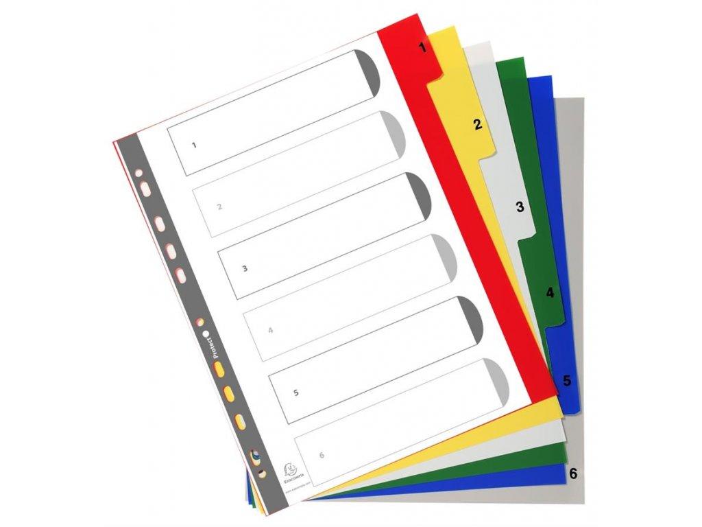 Exacompta, rozdružovač 1-6 barevný číselný, A4 maxi