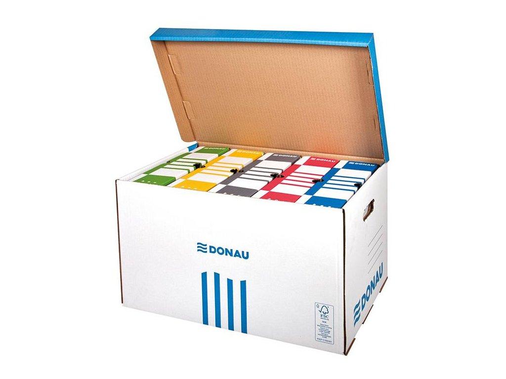 5 x Donau, modrá archivační krabice s víkem, 555x370x315 mm