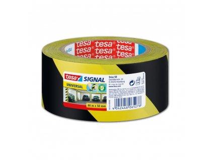 Tesa, značkovací páska pro dočasné značení, 66 m x 50 mm, PP, žlutočerná