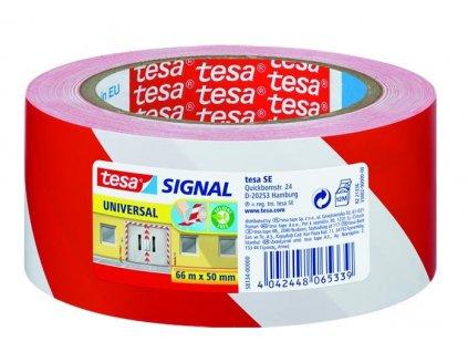 Tesa, značkovací páska pro dočasné značení, 66 m x 50 mm, PP, červenobílá