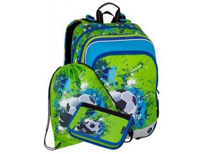 Klučičí školní batoh v setu motiv fotbal BAGMASTER Malý SET ALFA 8 C
