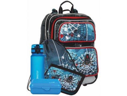 Klučičí školní batoh SPIDER v setu s penálem a sáčkem BAGMASTER Velký SET GALAXY 8 B