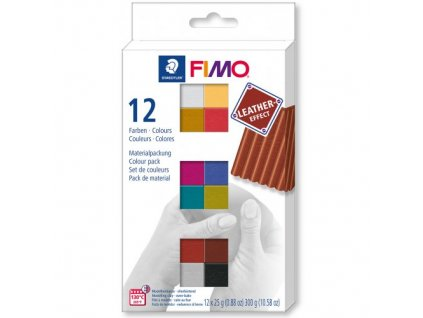 FIMO LEATHER Efekt sada 12 barev 25 g