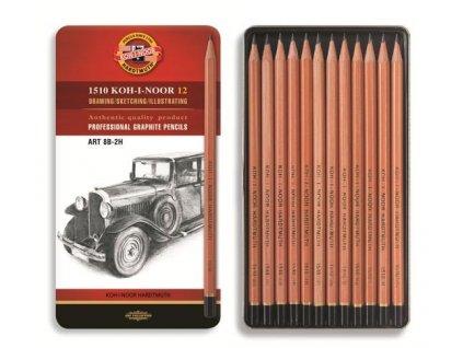 Koh-i-noor, grafitové tužky ART 1512N  8B- 2H - set