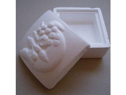 krabička čtvercová z polystyrenu s ovocem