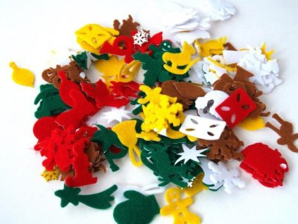 vánoční výseky z plsti