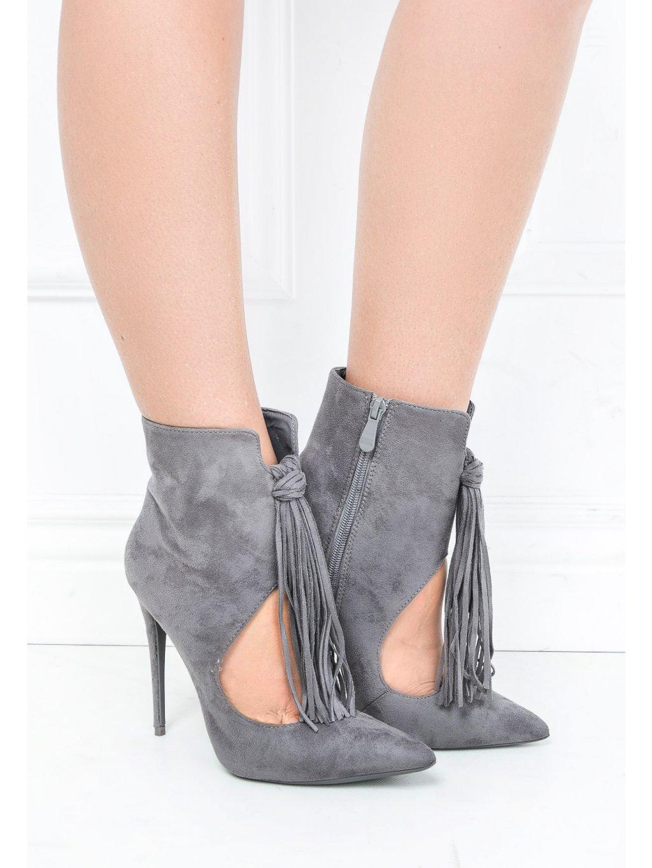Semišové šedé boty na jehlovém podpatku - 5035BUT/170418 / J11