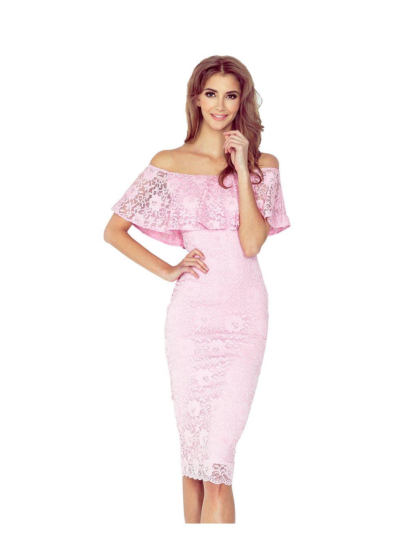 Dámské růžové krajkové šaty MM 013-2/ M31