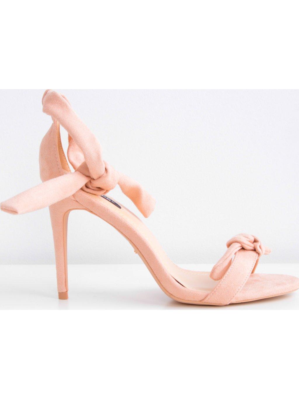 Růžové elegantní semišové sandály na podpatku - 5073/171096-J11