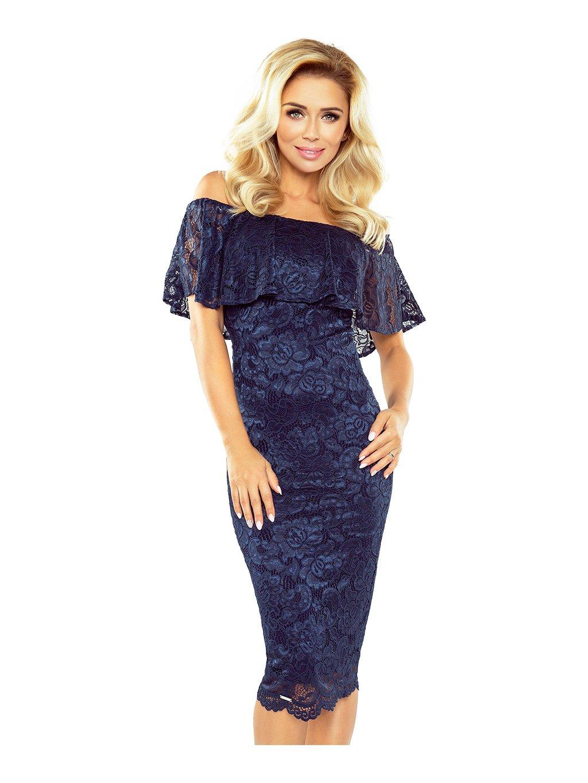 MM 013-4 Dámské modré krajkové šaty/ N36