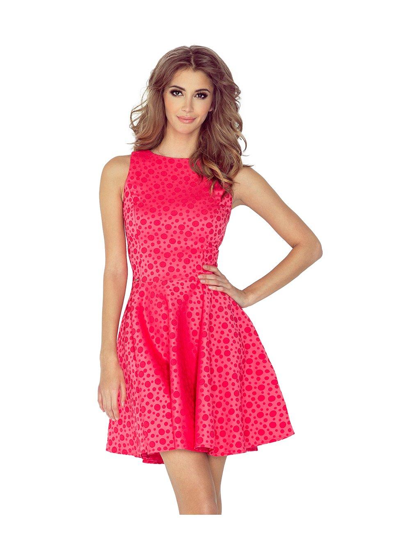Růžové šaty s motivem puntíků 125-13 / P34