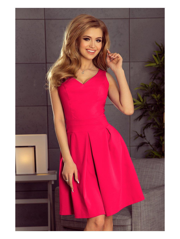 Malinové šaty se skládanou sukní 160-6 / L23