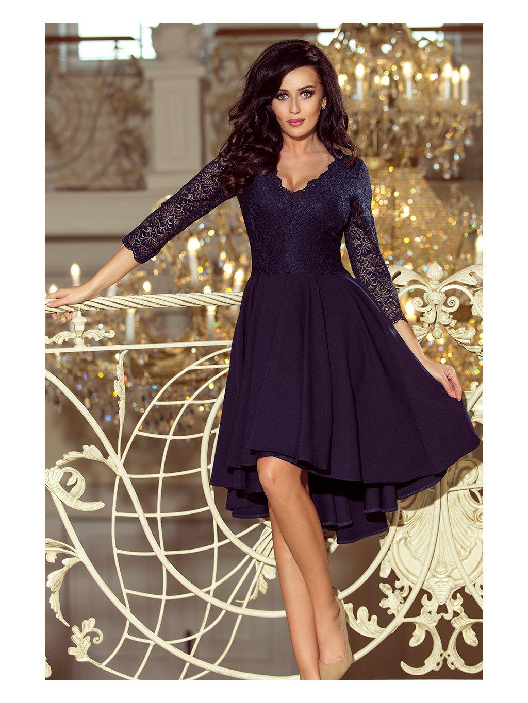 Tmavě modré šaty NICOLLE s krajkovými rukávy 210-2 / N34