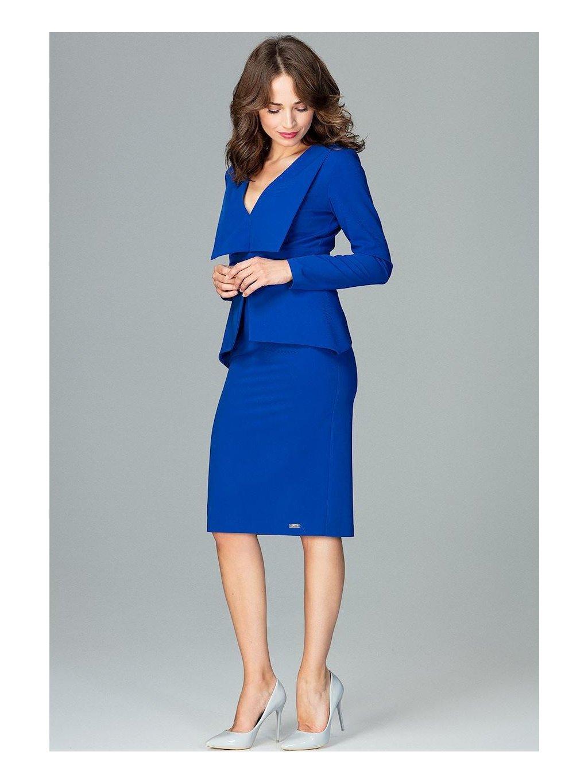 Modré šaty  s límcem K491 Sapphire / M24