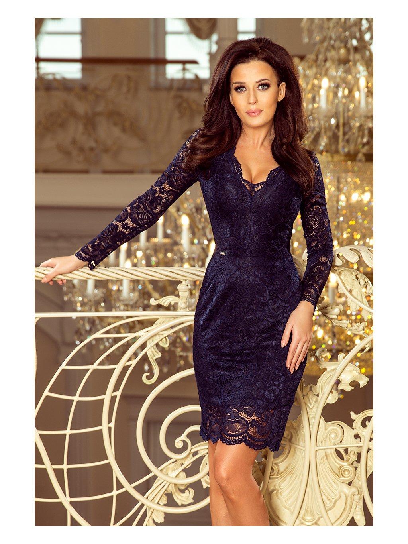 Modré krajkové šaty s výstřihem 170-7 / D14