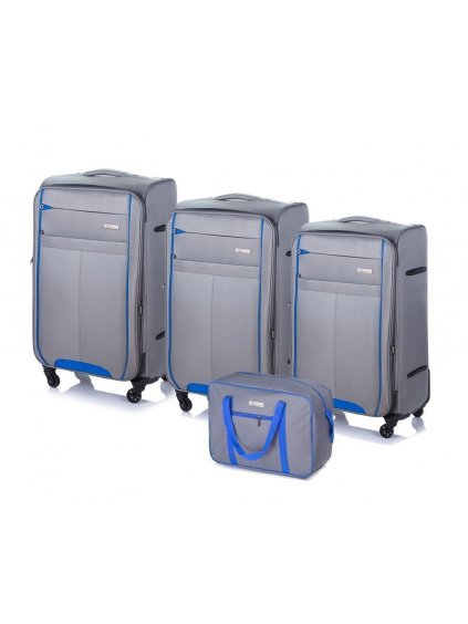 SOLIER LUGGAGE Šedý cestovní kufr (STL1311 LIGHT GREY/BLUE)