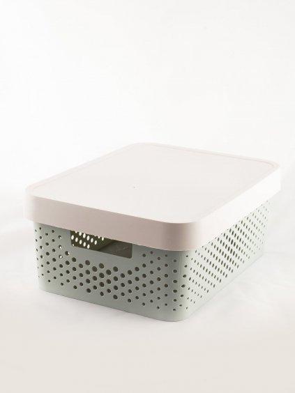 ŠEDÝ BOX S VÍKEM CH-PU-A-16438.35P-GRAY