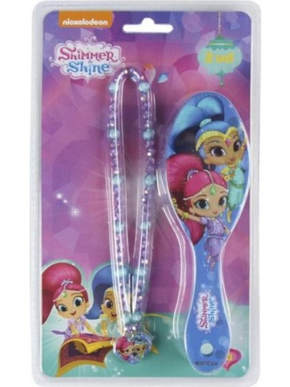 Shimmer & Shine dívčí set kartáč na vlasy a náhrdelník / J13