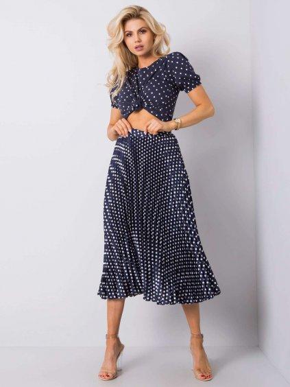 Tmavě modrá plisovaná sukně s puntíky * D50041Y50192-blue / P32