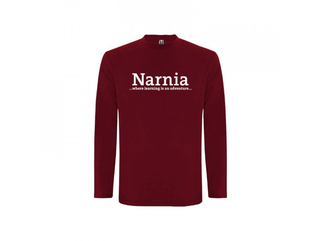 Pánske tričko dlhý rukáv Narnia nápis vpredu