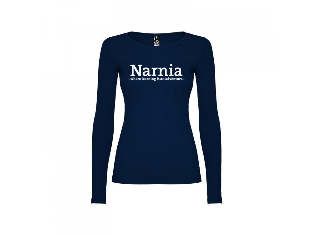 Dámske tričko dlhý rukáv Narnia nápis vpredu