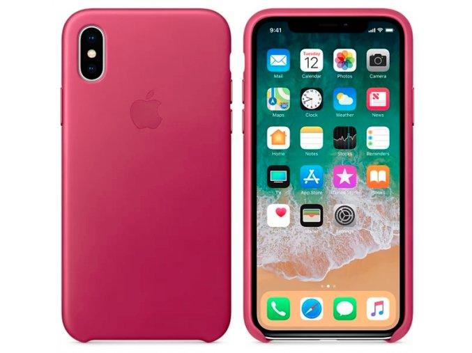 Kryt na mobil APPLE iPhone X Kožený kryt fuchsiový (MQTJ2ZM/A)