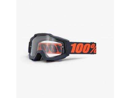 100% ACCURI ENDURO MOTO Goggle Gunmetal - Clear Dual Lens OKULIARE