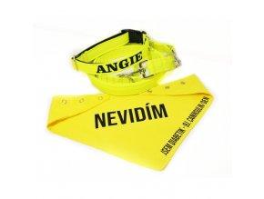 Neon softshell obojek/ vodítko žlutý