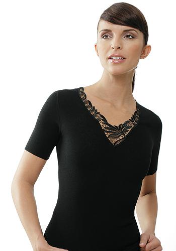 Medima Dámské termotriko s elegantní krajkou a krátkým rukávem Barva: Černá, Velikost: M