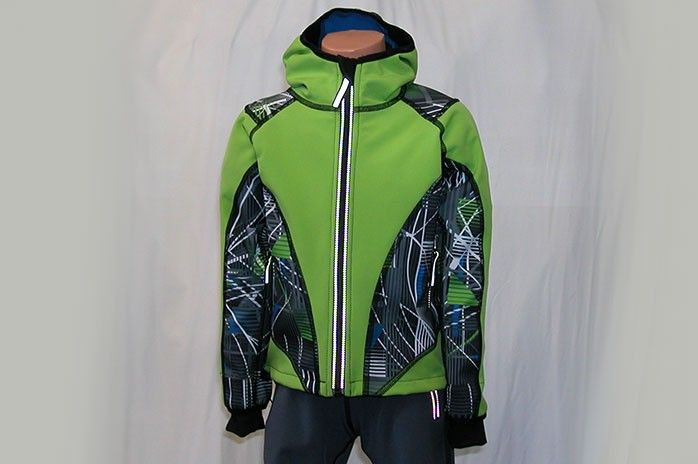 O.K. SPORT Dětská bunda SPIRIT volnějšího střihu s kapucí (s potiskem) Barva: Zelená, Velikost: 92