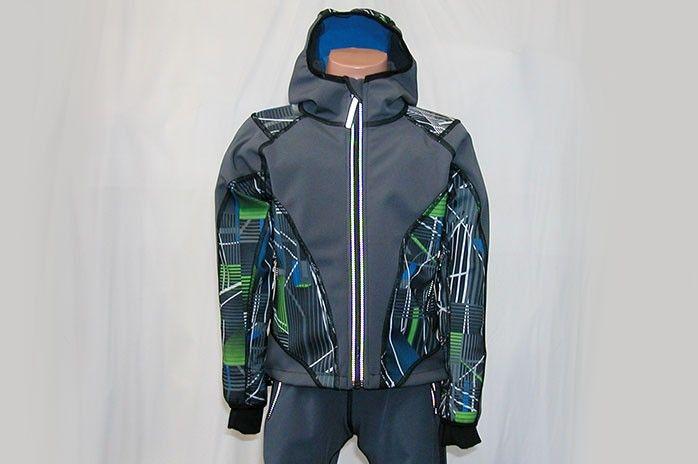 O.K. SPORT Dětská bunda SPIRIT volnějšího střihu s kapucí (s potiskem) Barva: Šedá, Velikost: 86