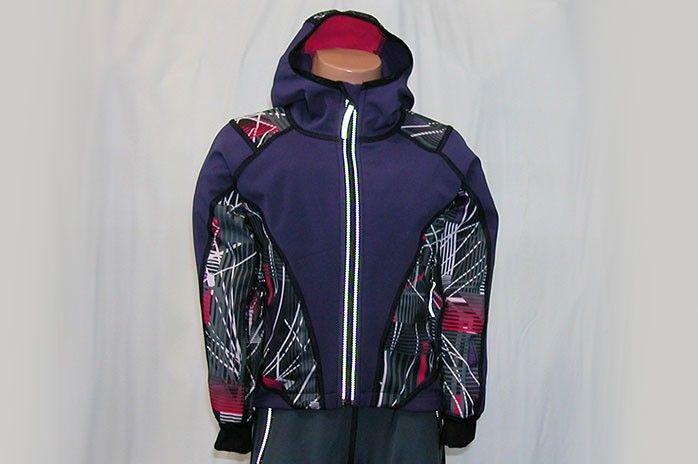 O.K. SPORT Dětská bunda SPIRIT volnějšího střihu s kapucí (s potiskem) Barva: Fialová, Velikost: 92