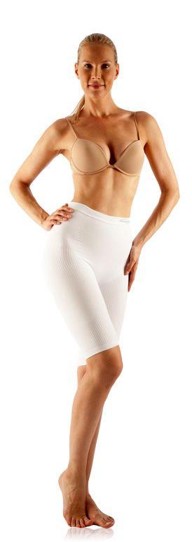 FarmaCell Masážní a zeštíhlující kalhotky nad kolena Barva: Bílá, Velikost: S/M