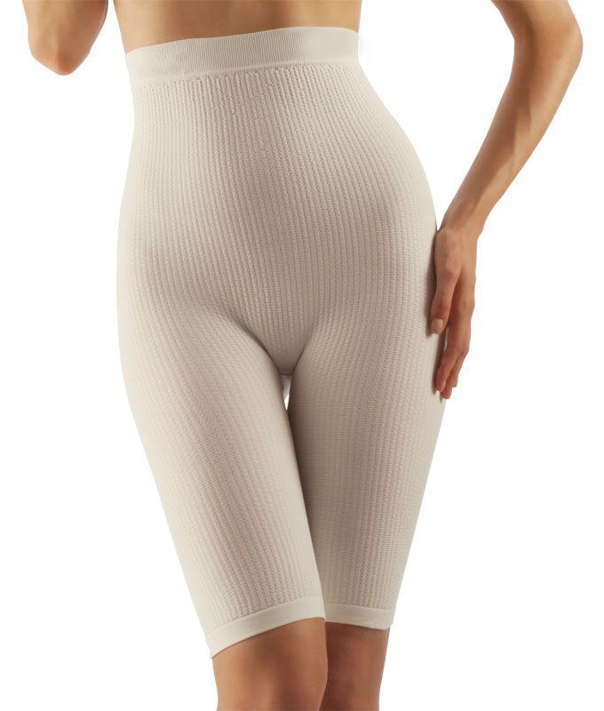 FarmaCell Masážní kalhotky nad kolena s vysokým pasem, mléčné vlákno Barva: Bílá, Velikost: M/L