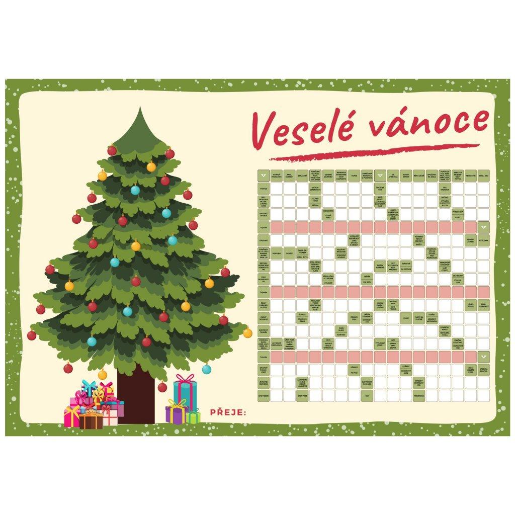 Přání vánoční s křížovkou  + kuličkové pero + dárková obálka