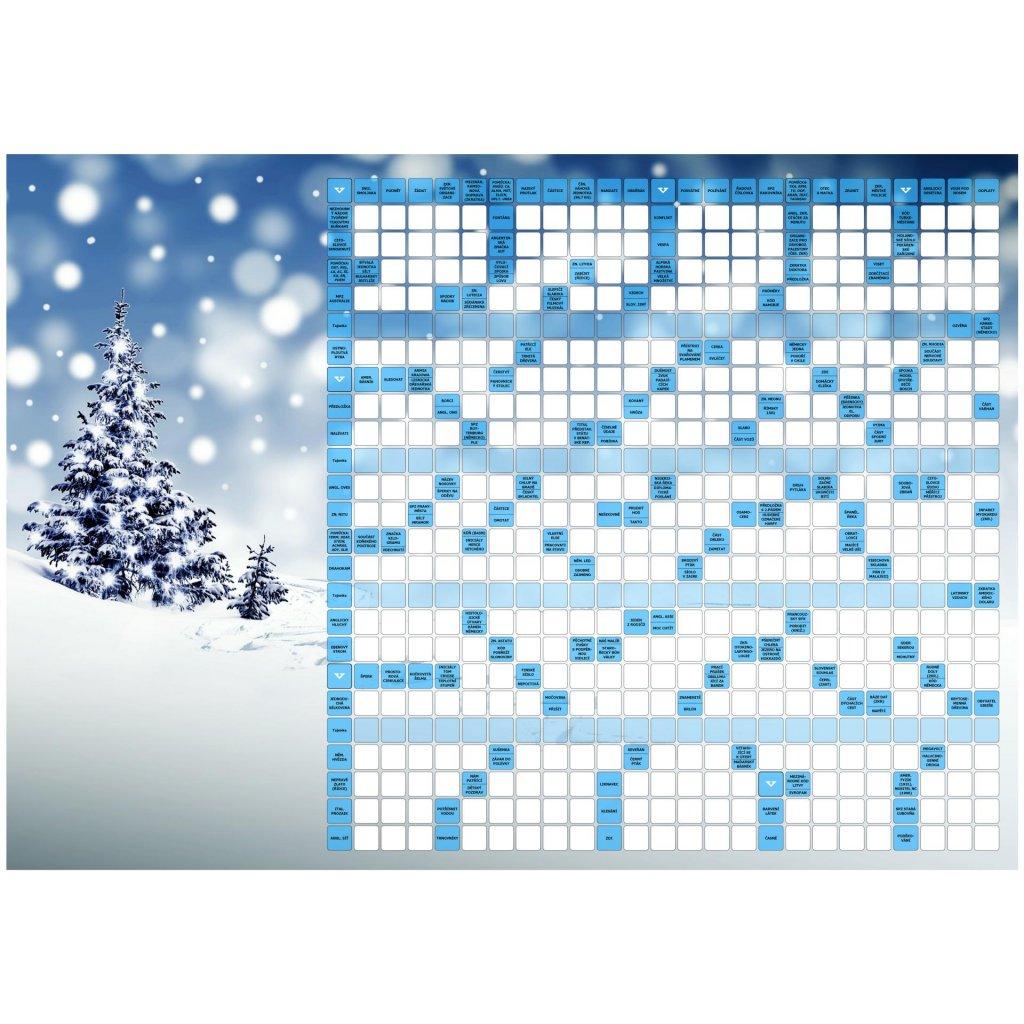Vánoční přáníčko s křížovkou  + kuličkové pero + dárková obálka