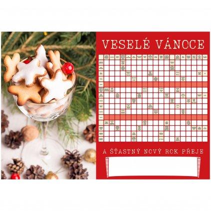 Přání veselé vánoce s křížovkou  + kuličkové pero + dárková obálka
