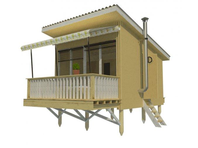 návod na stavbu chaty s terasou pro bydlení svépomocí