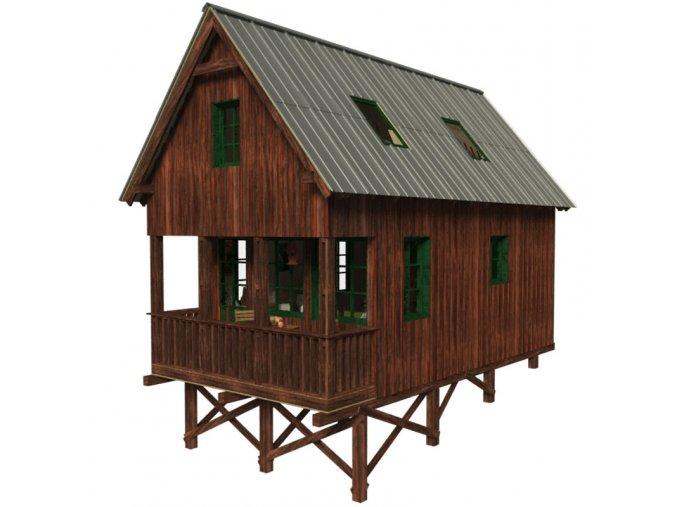 projekt dřevěné chaty s podkrovím bez stavebního povolení svépomocí