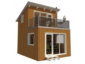 projekt na malou dřevěnou chatu s terasou na střeše