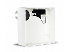 QE-B M VK90  Instalační krabice pro VORT QUADRO EVO pro nástěnnou montáž z ABS plastu, s nerezovým hrdlem dozadu obsahujícim požární zpětnou klapku K90