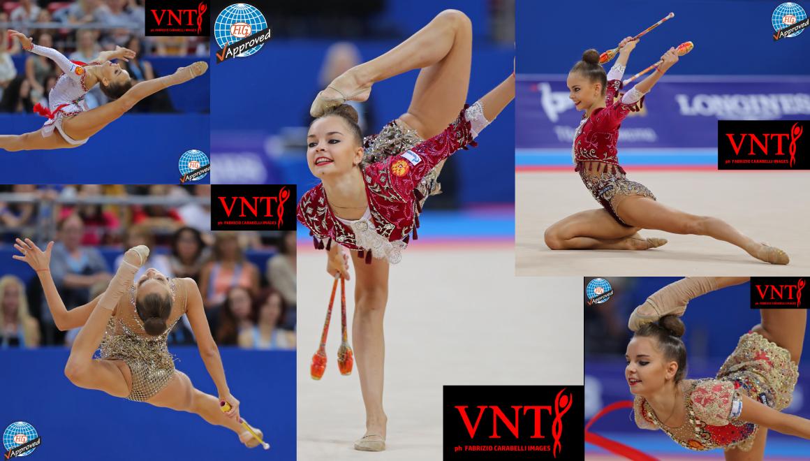 Mistryně světa Arina a Dina Averina - gymnastické kužele