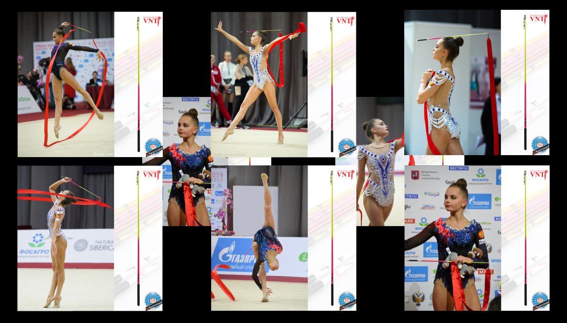 Mistryně světa Arina a Dina Averina - gymnastické tyčky