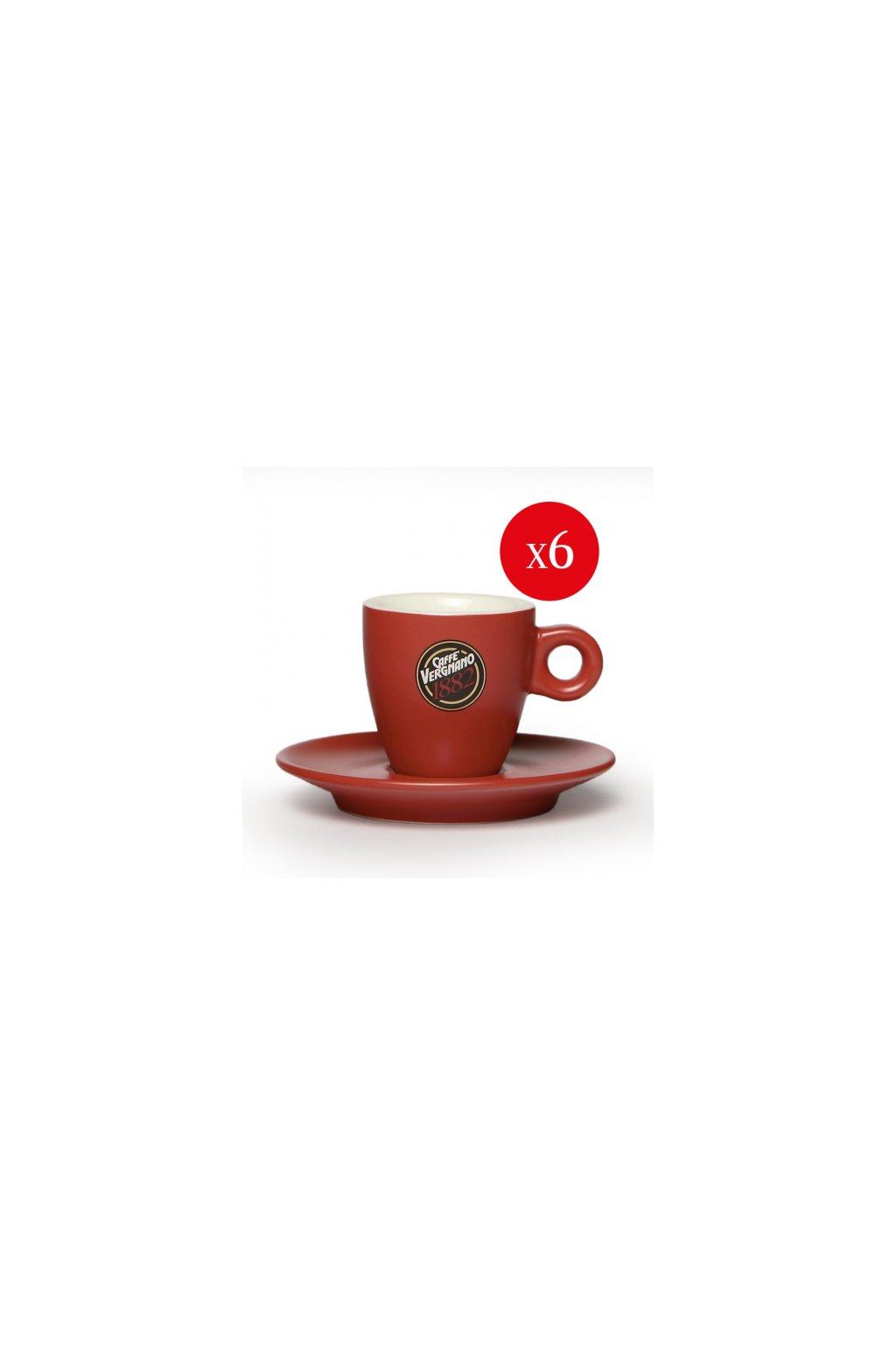 set da 6 tazzine caffe rosse