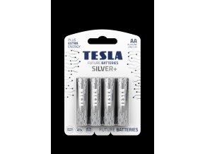 TESLA SILVER+ AA blister 4 open transparent