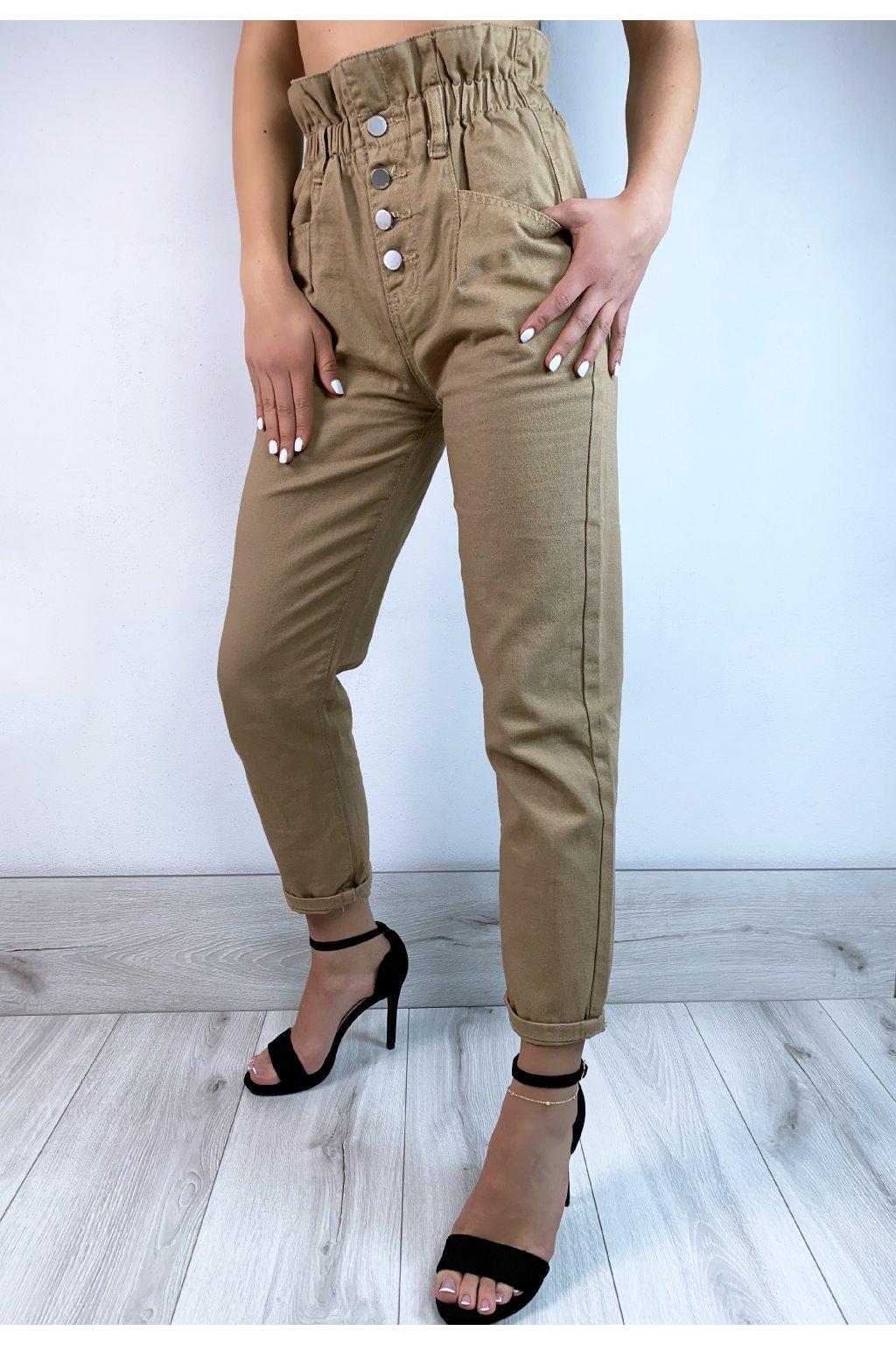 bezove nohavice na gumicku s vysokym pasom